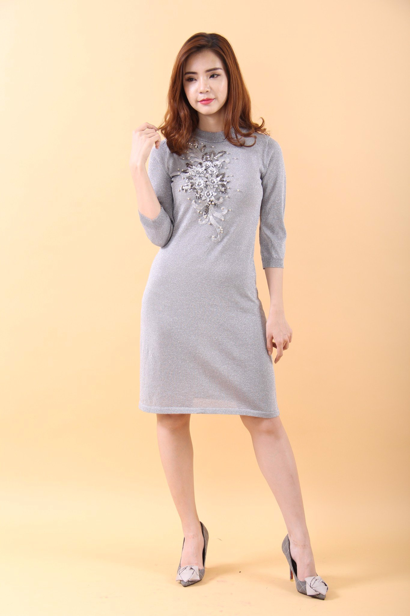 3D Lotus and pearls silver midi dress