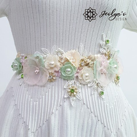 Pink and Green Flower Sash - FS06