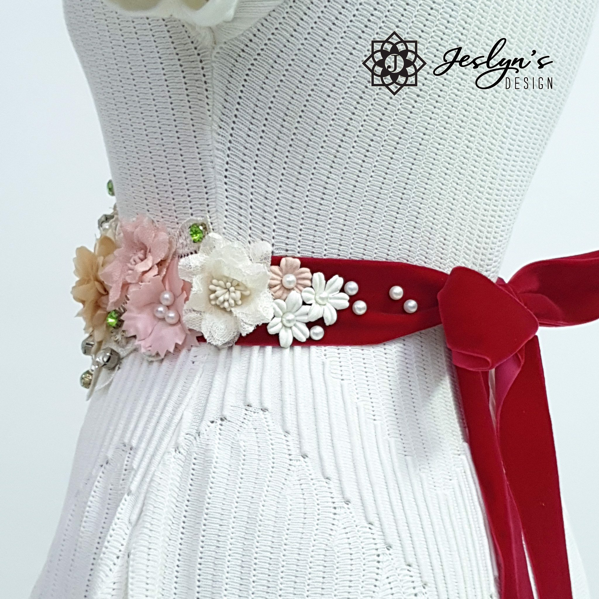 Pink and Beige Flower Sash - FS09