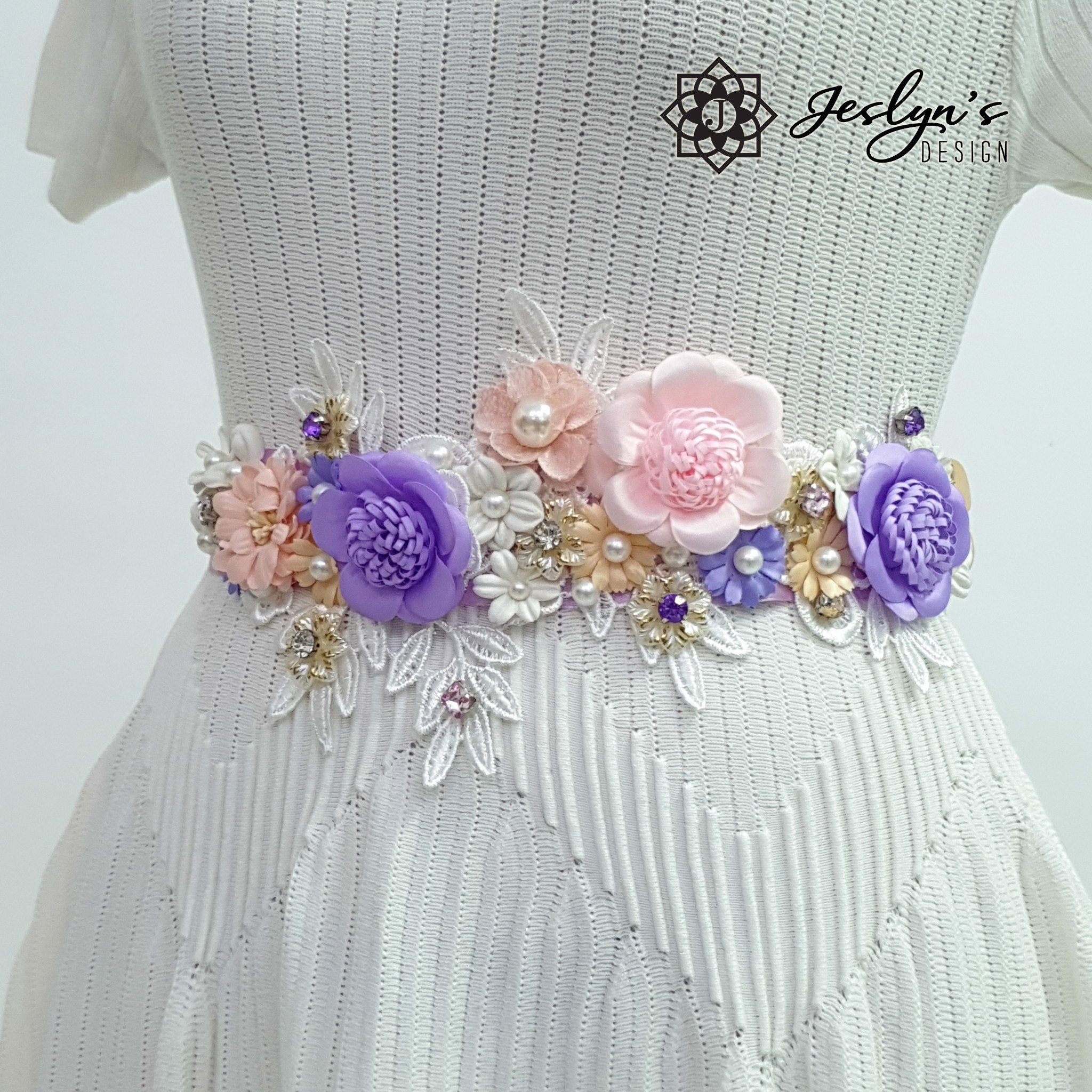 Pink and Purple Flower Sash - FS10