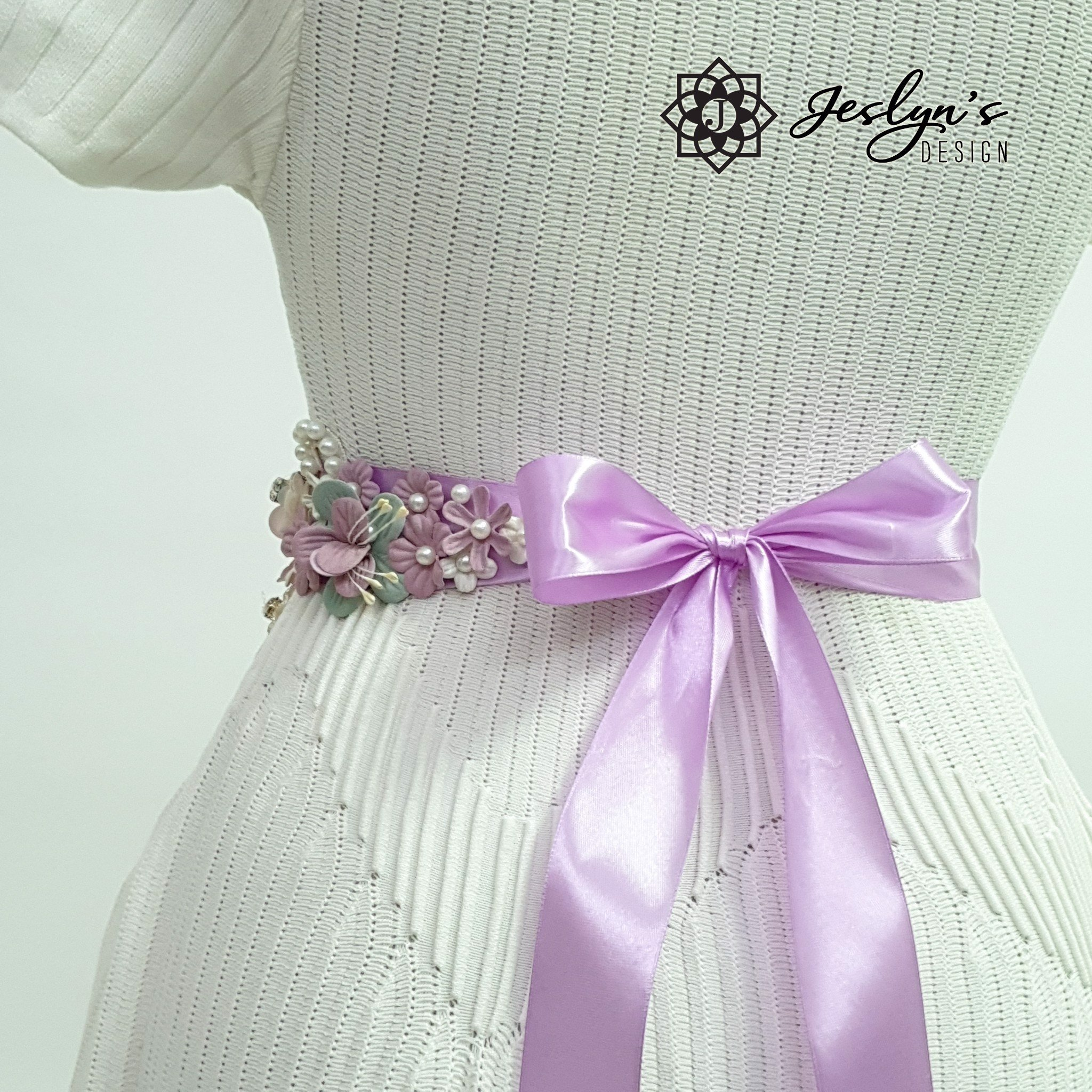 Purple Fabric Flower Sash - FS11