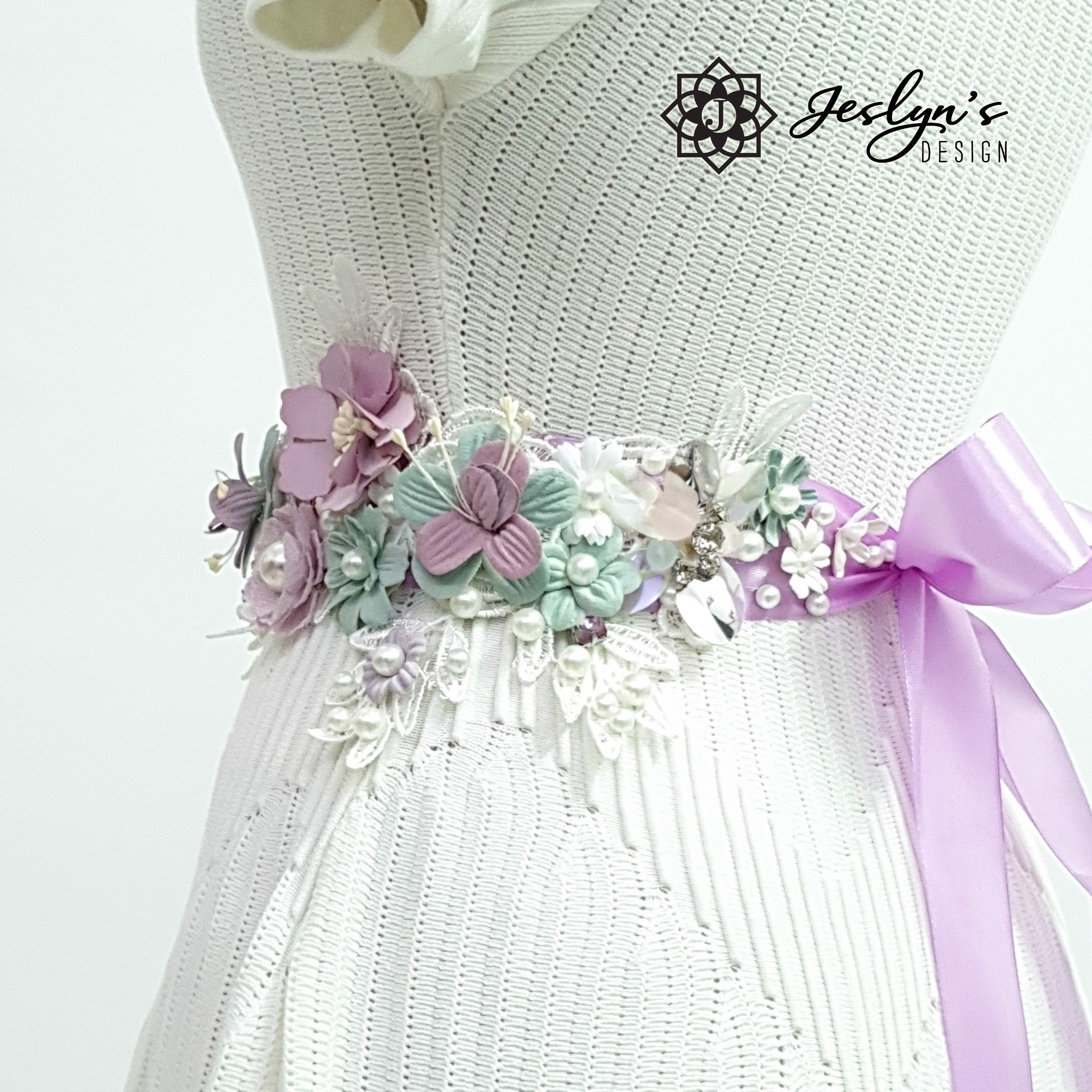 Purple and Green Flower Sash - FS12