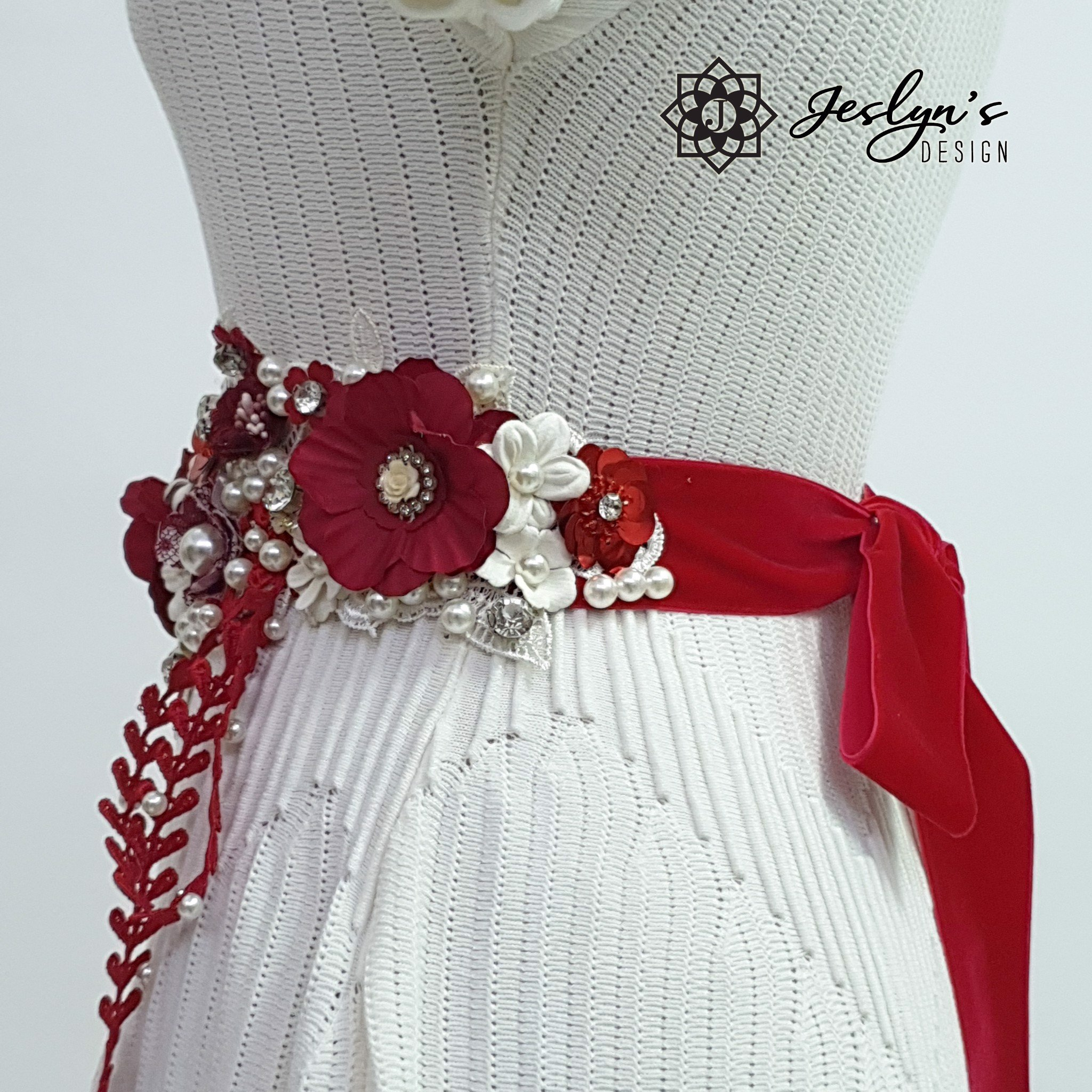 Red and White Willow Flower Sash - FS15