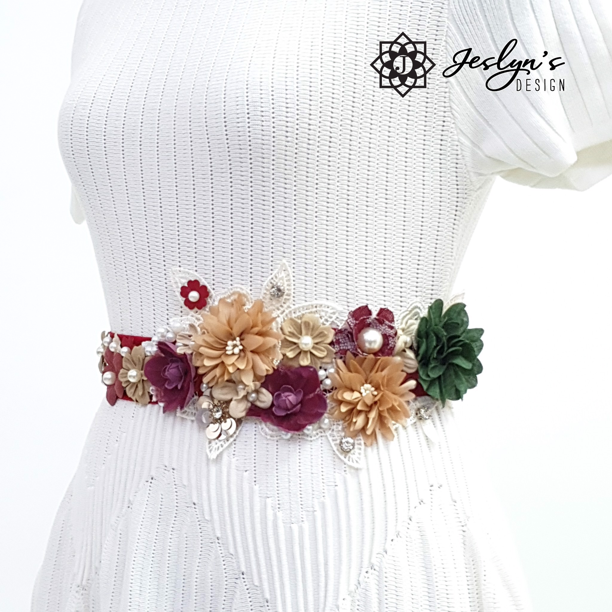 Beige, Red and Green Flower Sash - FS16