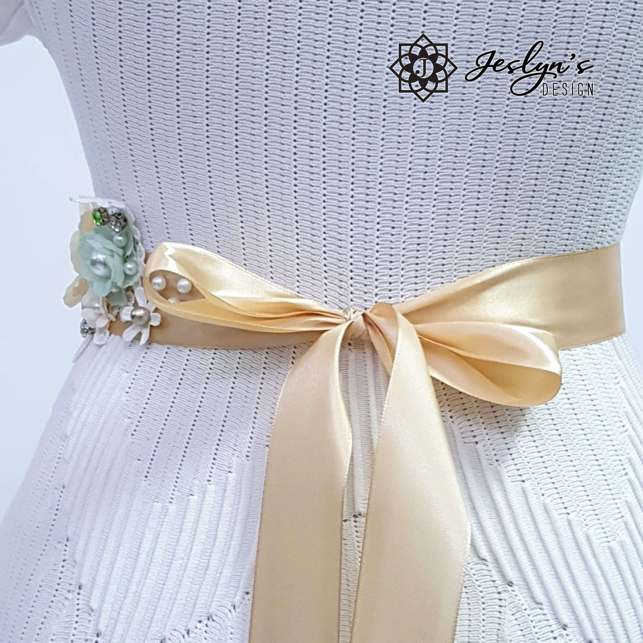 Beige and Green Flower Sash - FS17