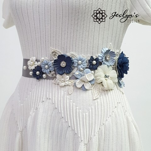 [Gift] Blue and White Flower Sash - FS19