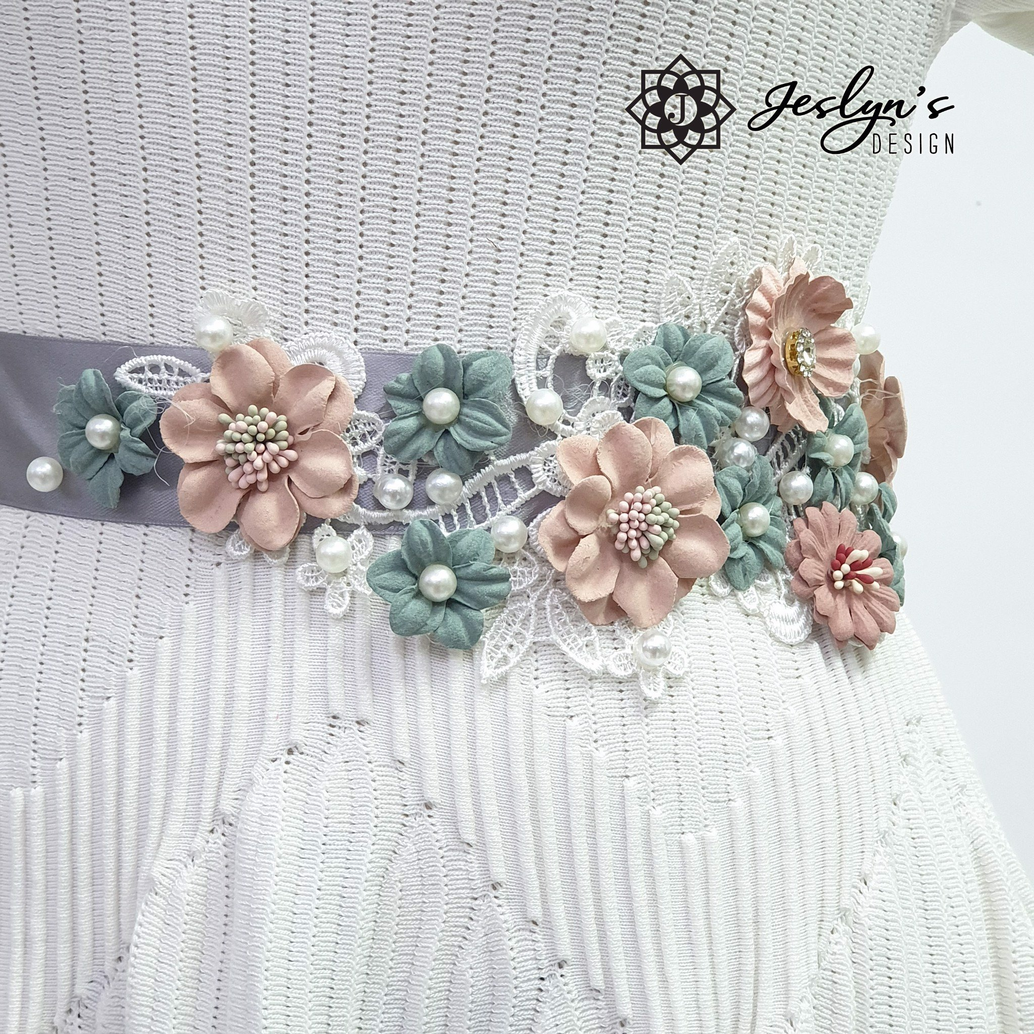 [Gift] Pink and Emerald Flower Sash - FS20