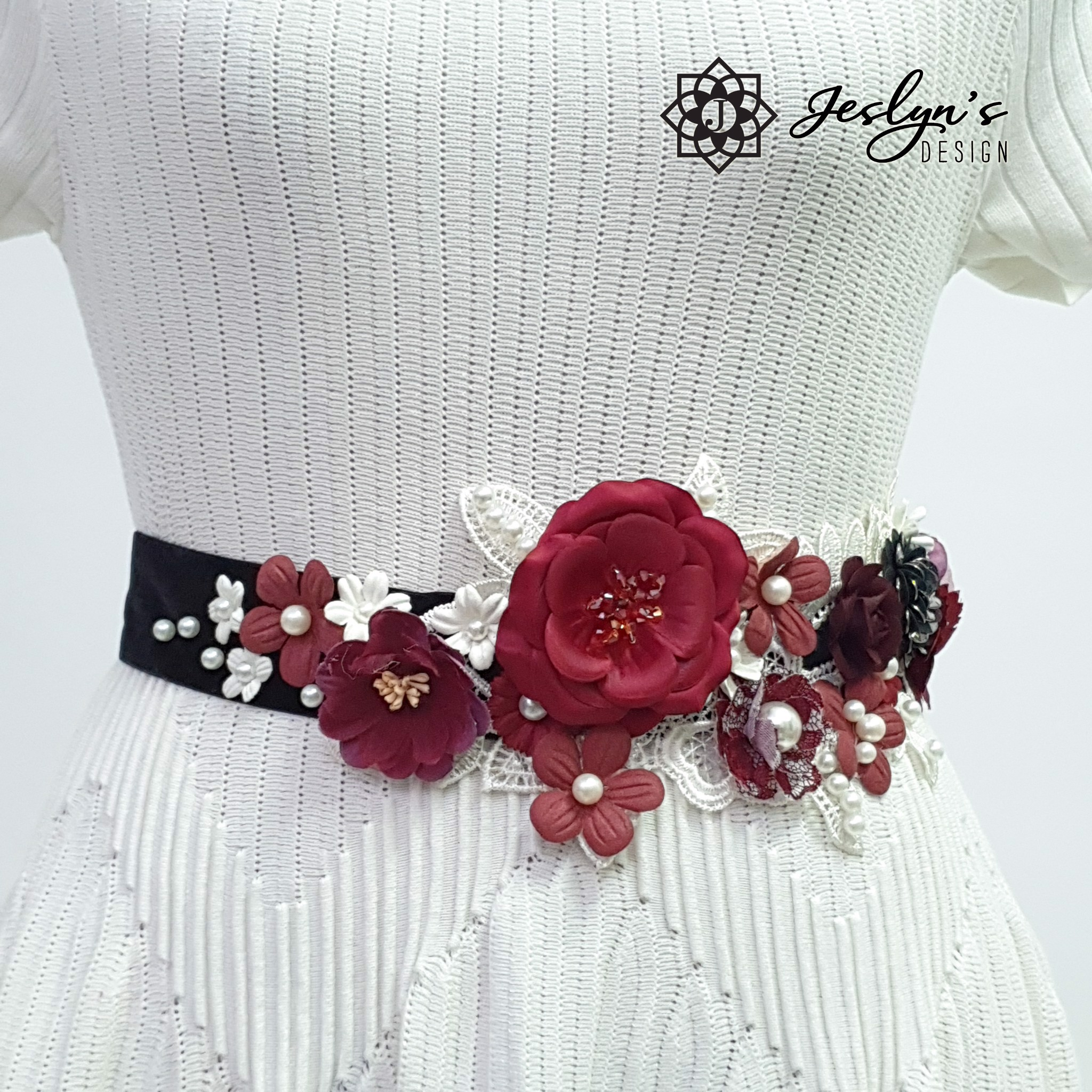 Red In The Dark Flower Sash - FS25