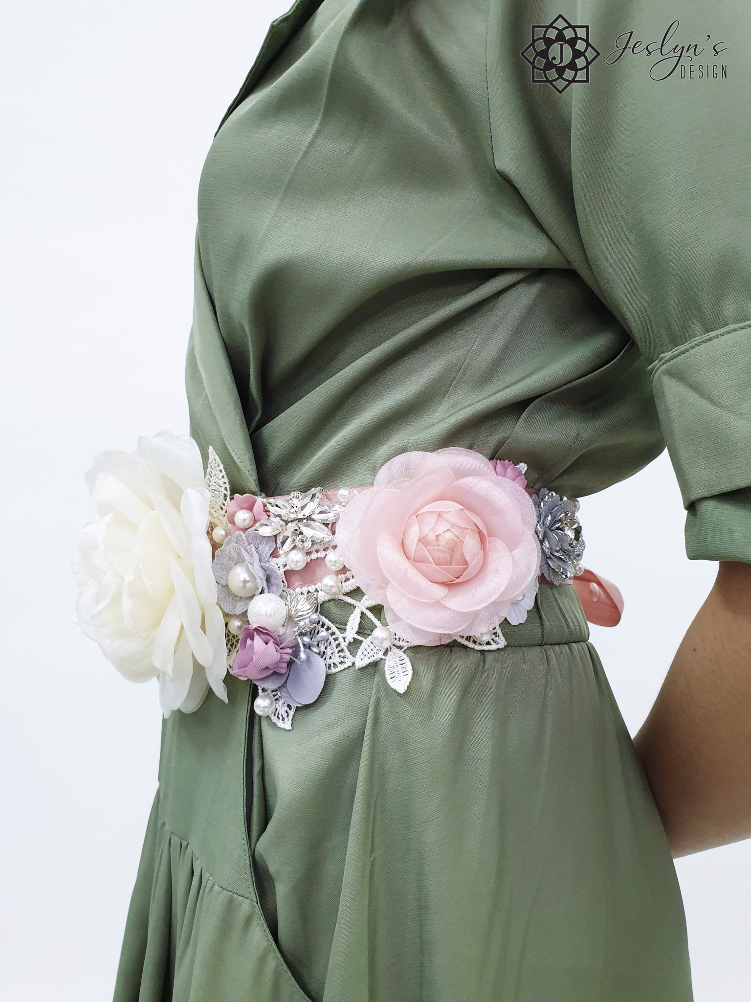 Rose white Flower Sash-FS71