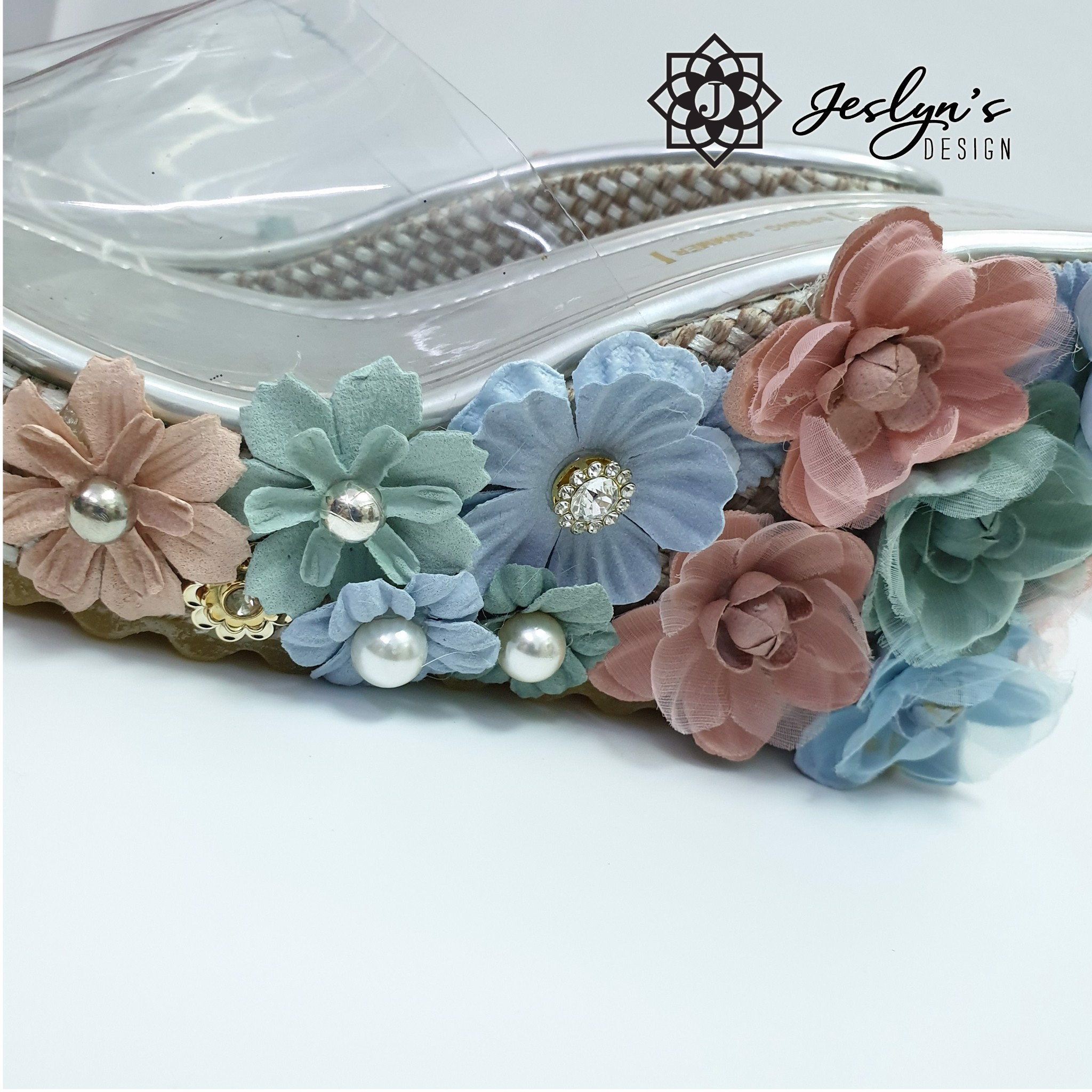 Blue Dream 3D flowers Wedge Sandals - GD04