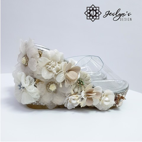 White Cloud 3D flowers Wedge Sandals - GD05