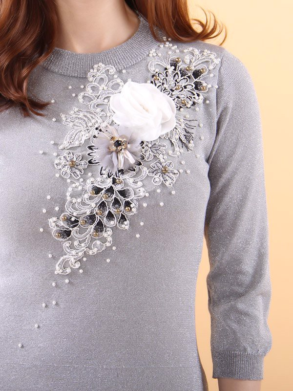 Fabric flower and pearls silver shift dress