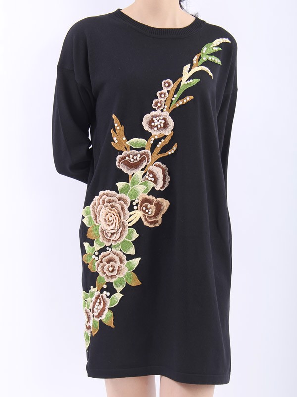 3D flowers and pearls black tunic dress