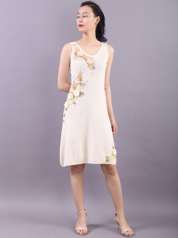 Apricot bloom white shift dress