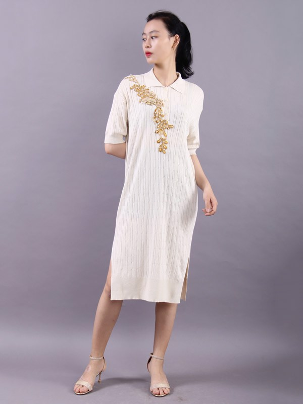 3D Lotus confetti white shift dress