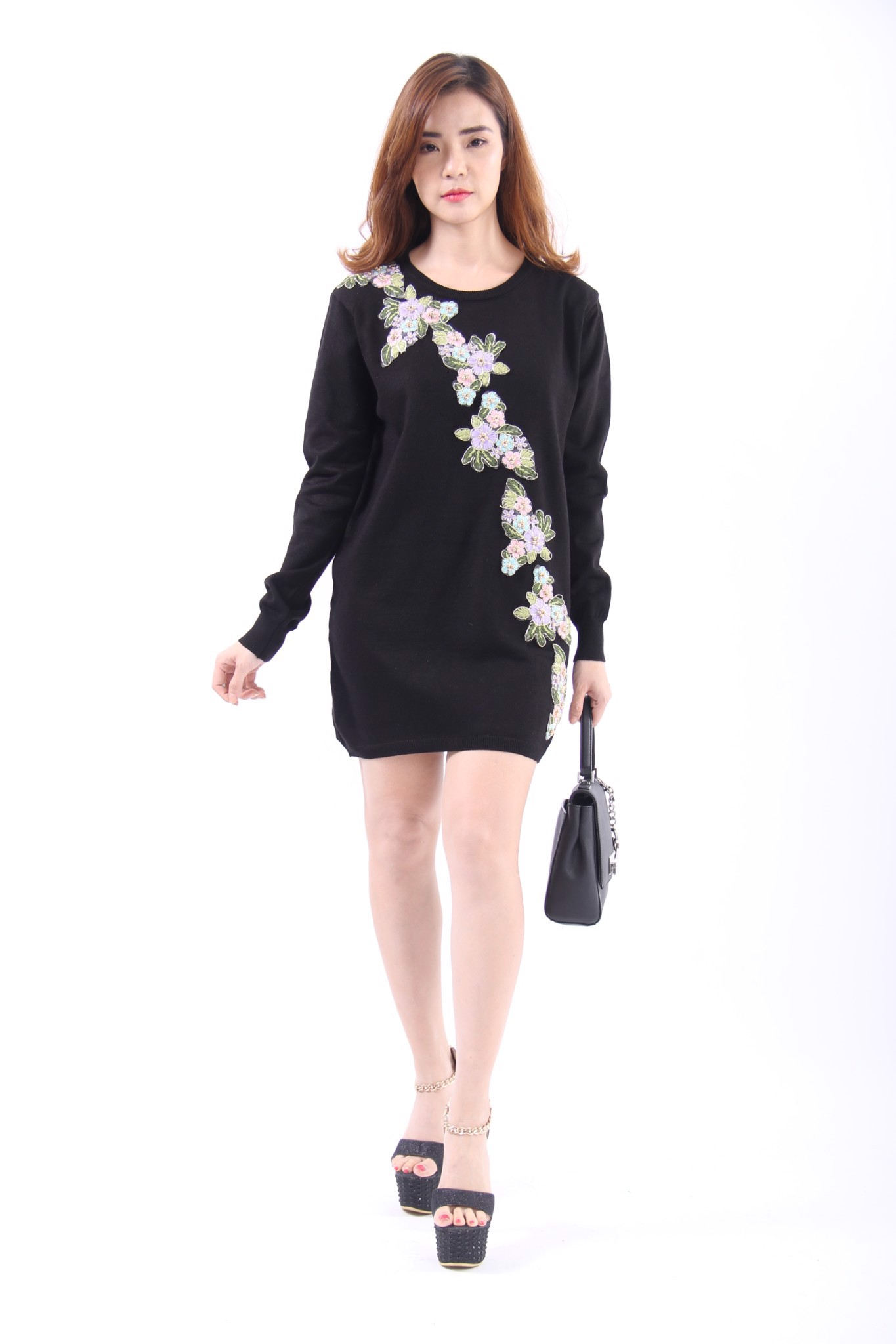 3D flowers black long sleeve shift dress