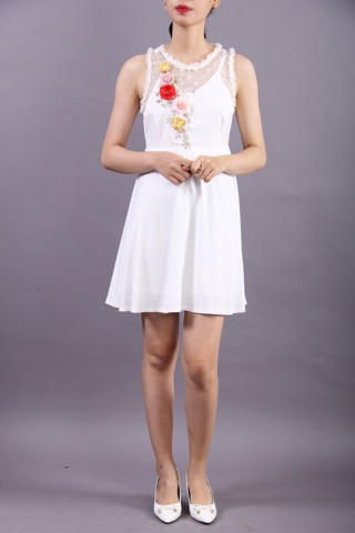 3D colorful flowers and pearls white A-shape dress