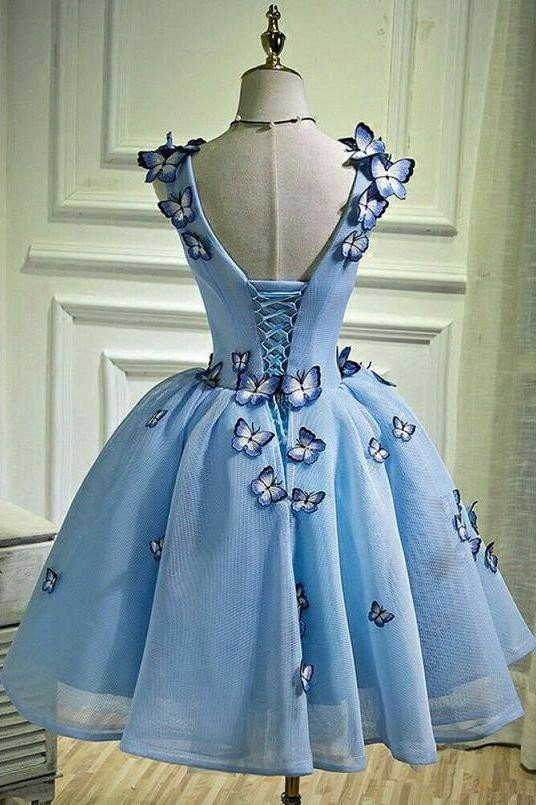 Sky Blue Butterfly Short Homecoming Dress OKB67