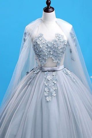 Prom Dress With Lace Applique