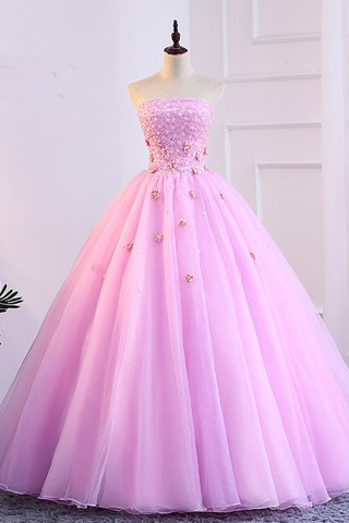 Pink 3D Lace Applique Prom Dress