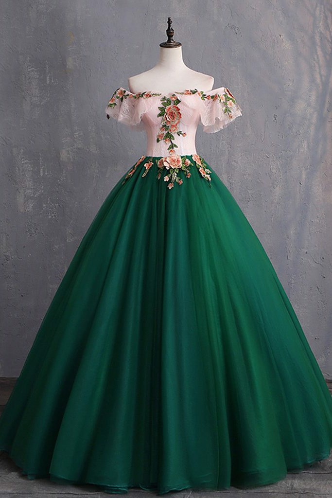 Deep Green Evening Dress With Sleeve