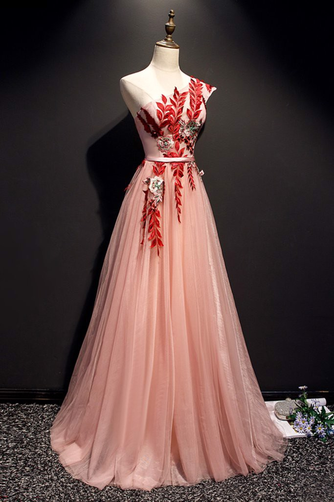 Pink Flower Lace Applique Long Prom Dress