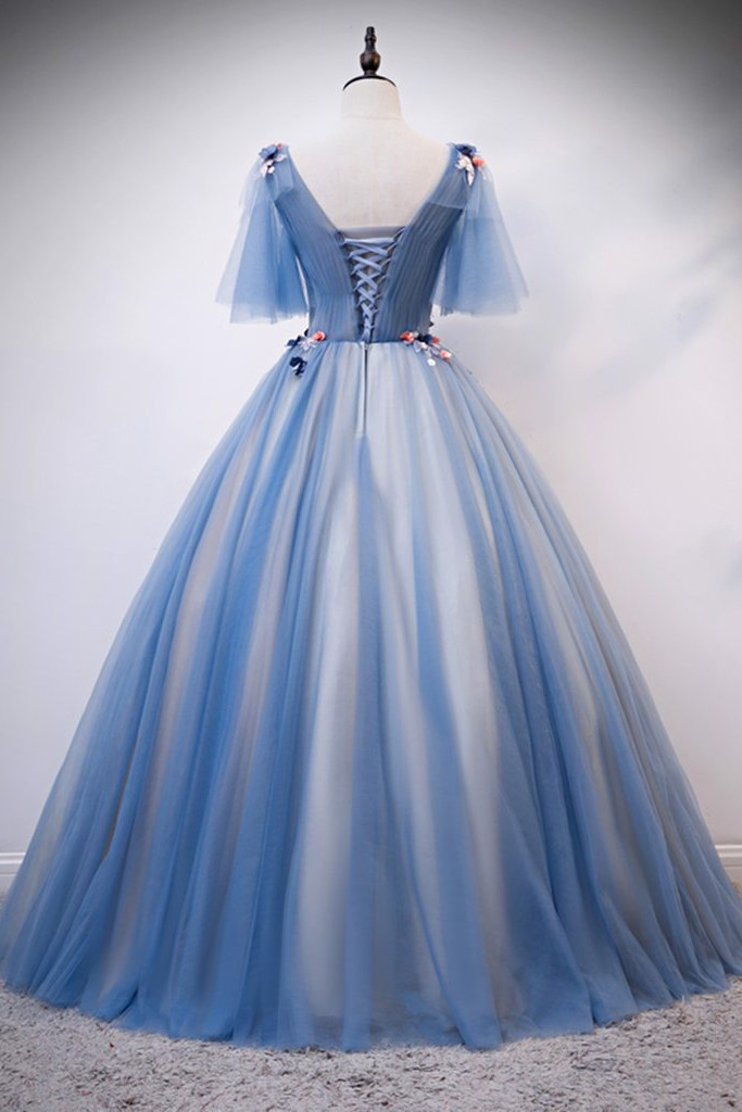 Blue Applique Long Prom Dress