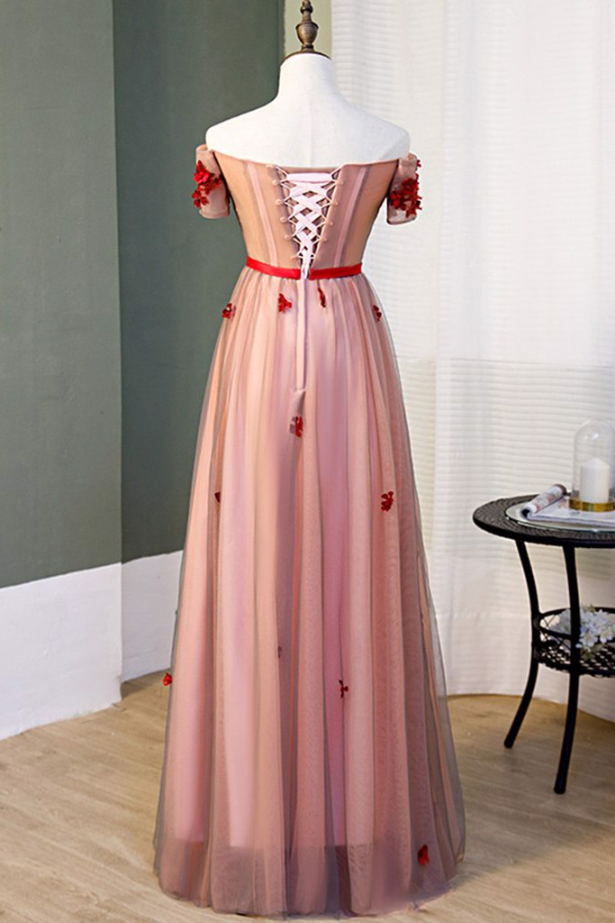 Simple Pink Long Prom Dress