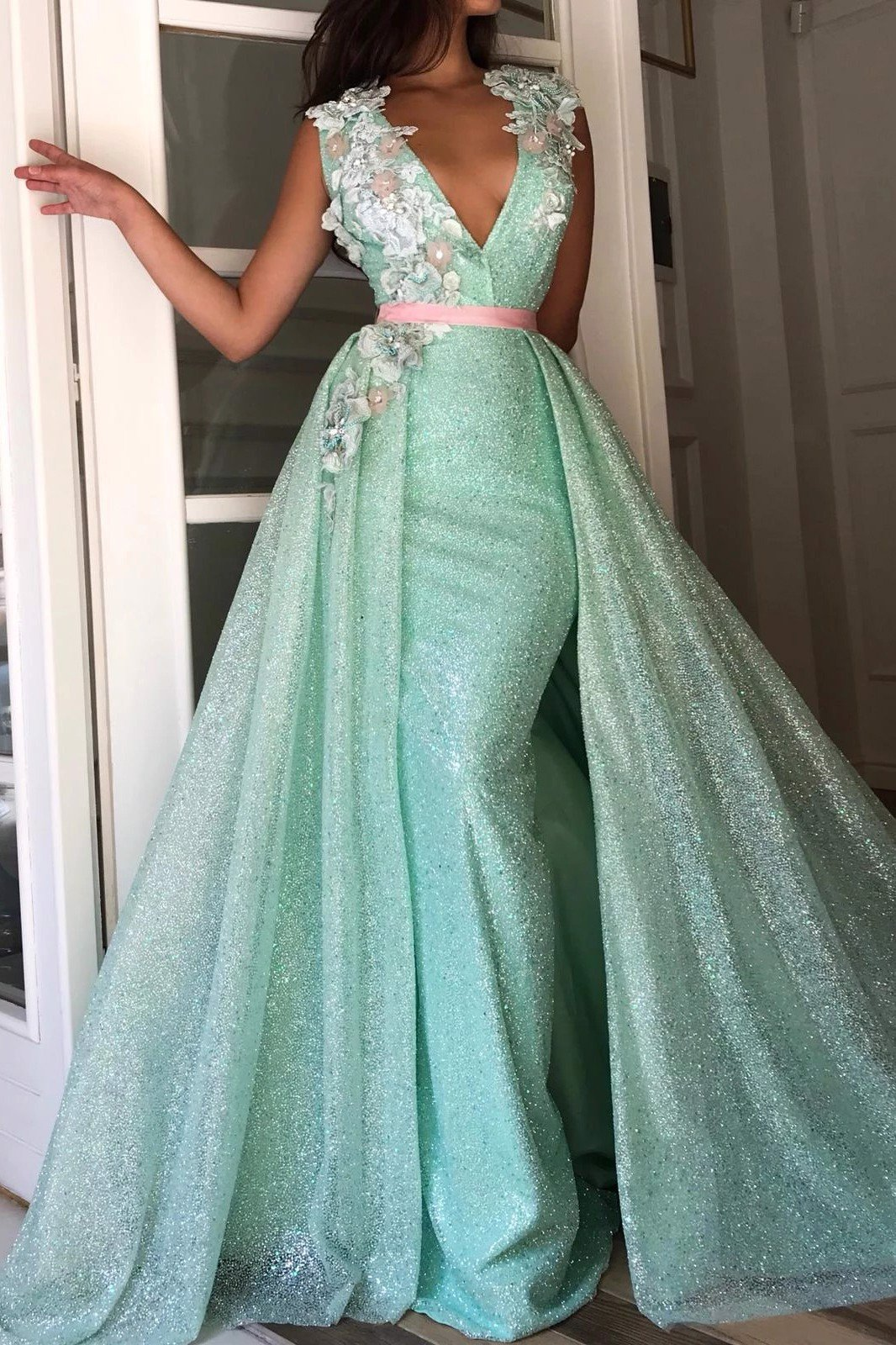 Turquoise Flowery Cusp TMD Gown