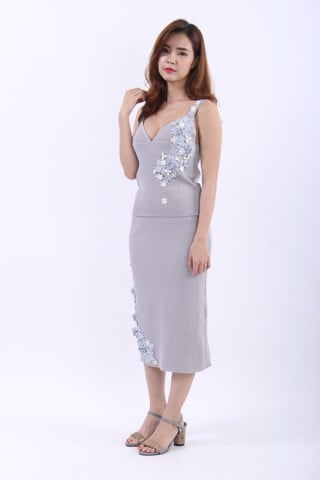 3D handmade flowers grey two pieces sleeveless tea length dress