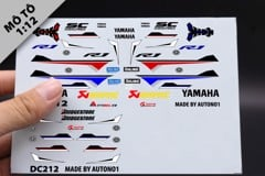 DECAL NƯỚC YAMAHA R1M CUSTOM RED & WHITE 1:12 DC212