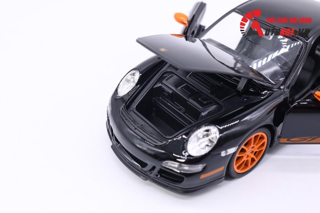 MÔ HÌNH XE PORSCHE 911 997 GT3 RS BLACK ORANGE 1:24 WELLY 5503