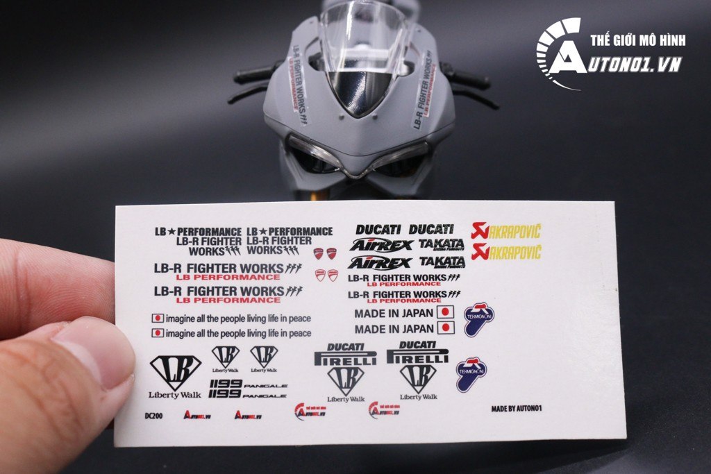 DECAL NƯỚC DUCATI 1199 PANIGALE CUSTOM LIBERTY WALK GRAY 1:12 DC205