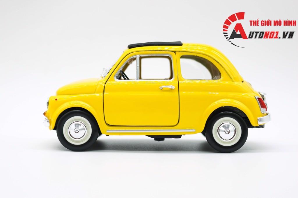 MÔ HÌNH XE FIAT 500F MUI ĐÓNG 1965 YELLOW 1:24 BBURAGO 6528