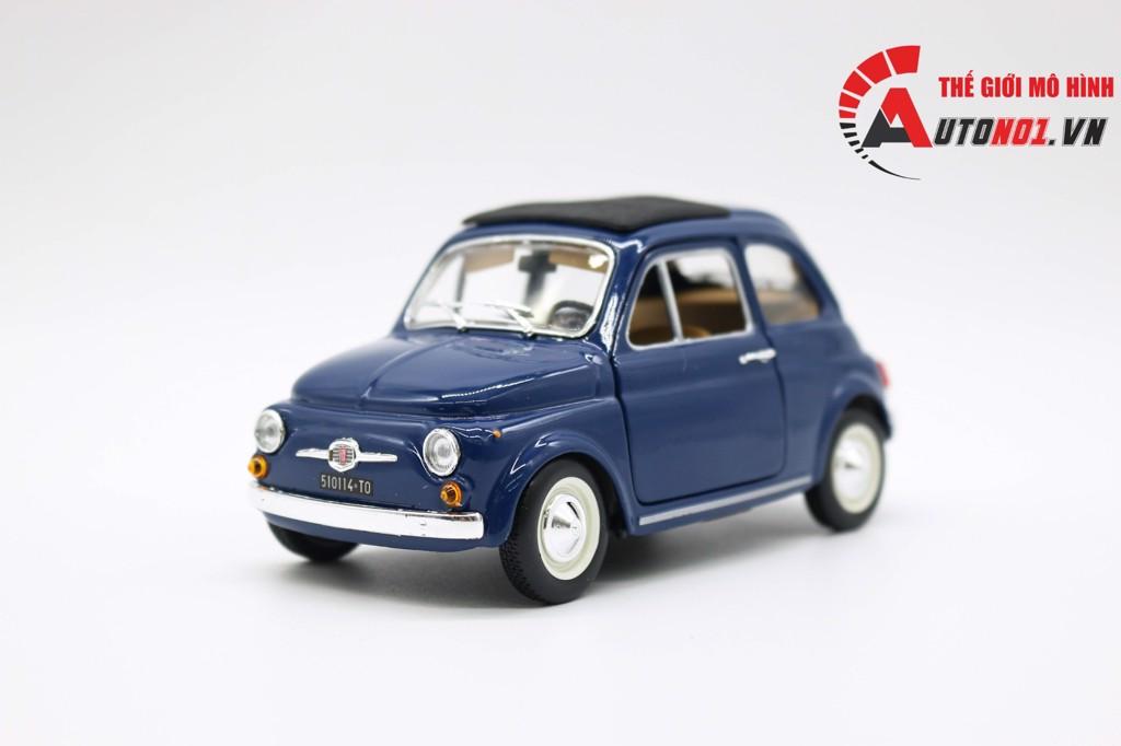 MÔ HÌNH XE FIAT 500F MUI ĐÓNG 1965 BLUE 1:24 BBURAGO 6531