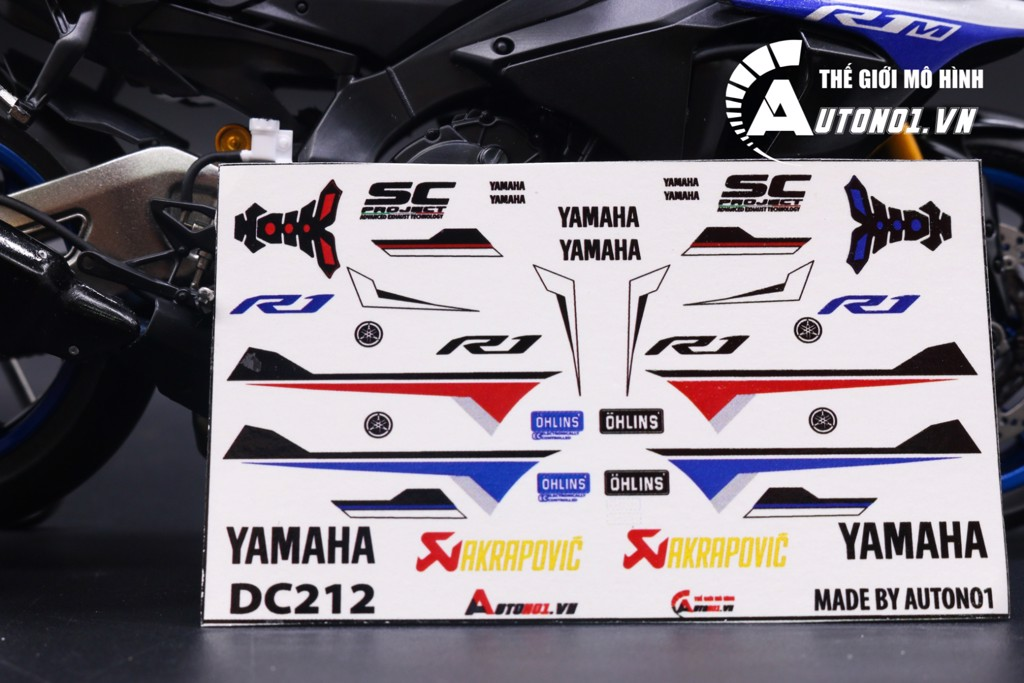 DECAL NƯỚC YAMAHA R1M CUSTOM RED & WHITE 1:12 DC212