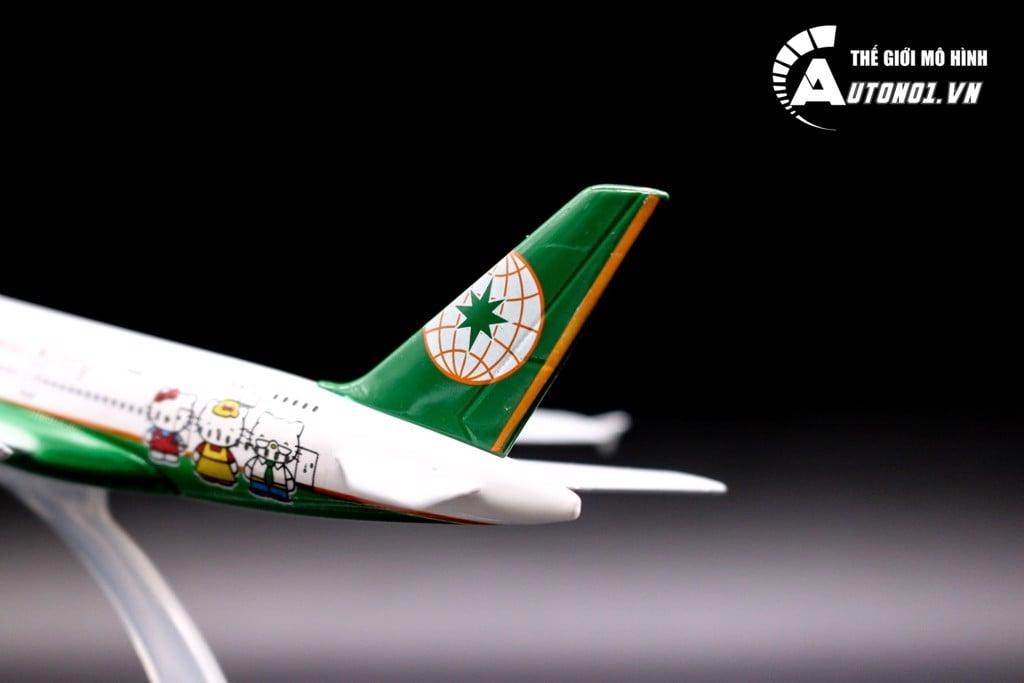 MÔ HÌNH MÁY BAY AIRBUS A380 EVA AIR KITTY GREEN 16CM EVERFLY 6849