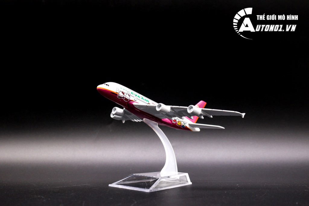 MÔ HÌNH MÁY BAY A380 EVA AIR KITTY PINK 16CM EVERFLY 6848