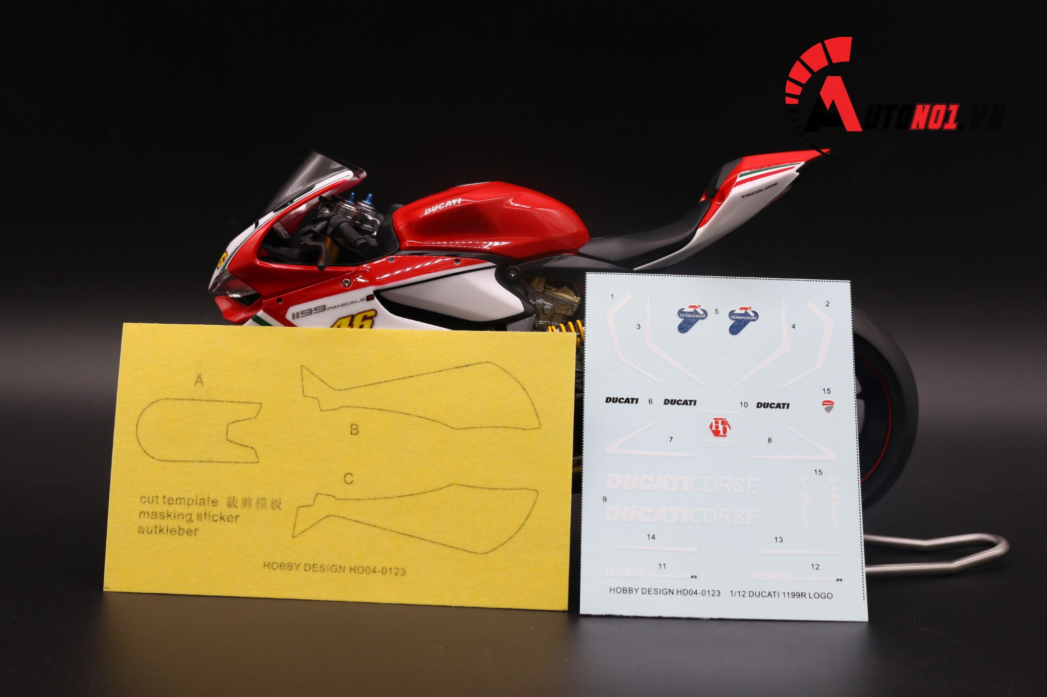 DECAL DUCATI CORSE 1199 R 1:12 HOBBY DESIGN HD04-0123