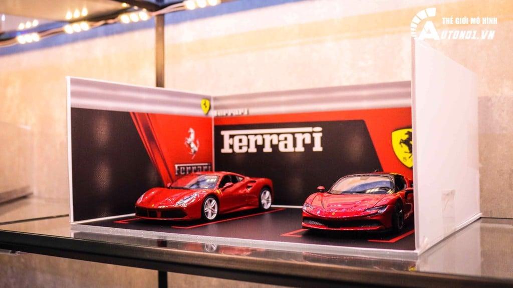 COMBO 2 XE FERRARI SF90 STRADALE VÀ FERRARI 488 GTB RED 1:24 TẶNG 1 SHOWROOM FERRARI CB055