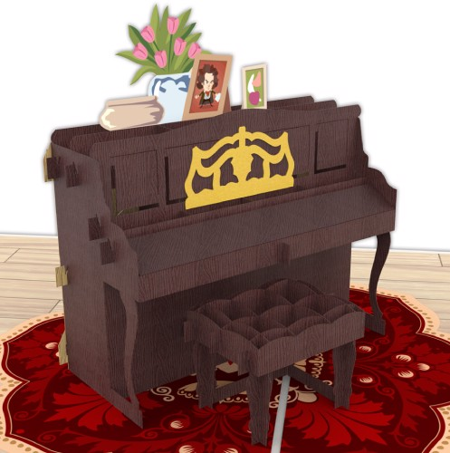 Piano-Brown-pop-up-card-Model