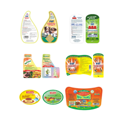 Plastic labels on products packaging