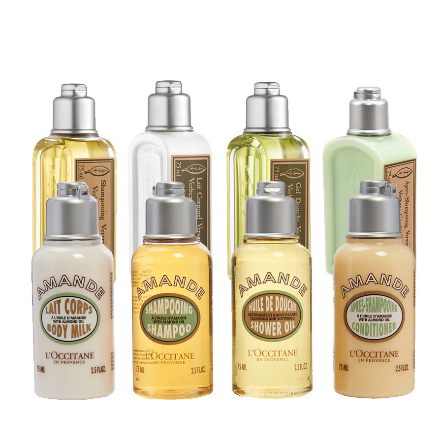 Combo 8 Tắm - Gội - Xả - Body Lotion Travel L'Occitane Verbena And Almond Collection 75mlx8