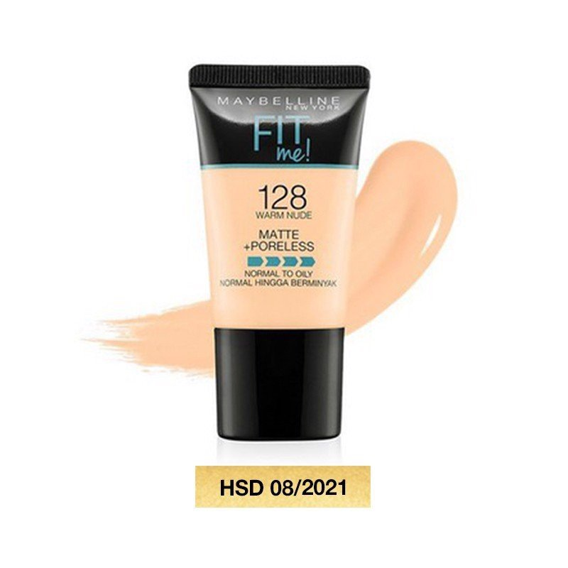 Kem Maybelline New York Matte and Poreless Foundation Tube 128 Warm Nude 18ml