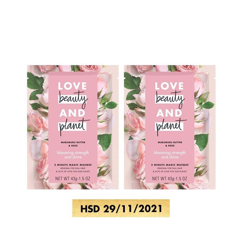 Combo Kem Ủ Tóc Love Beauty - Planet Blooming Strength And Shine 45mlx2