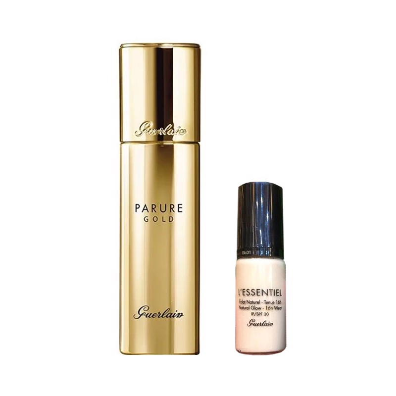 Combo Kem Nền Guerlain Parure Gold Foundation - 12 Rose Clair 30ml  Và Guerlain L'essentiel Natural Glow Foundation 5ml
