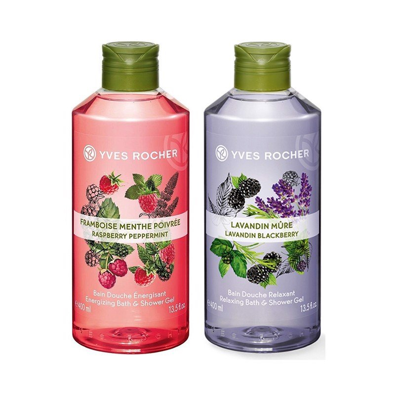 Combo Gel Tắm Yves Rocher Energizing Bath And Shower Gel Raspberry Peppermint Fl  400ml Bottle Và Yves Rocher Relaxing Bath And Shower Gel Lavandin Blackberry 400ML