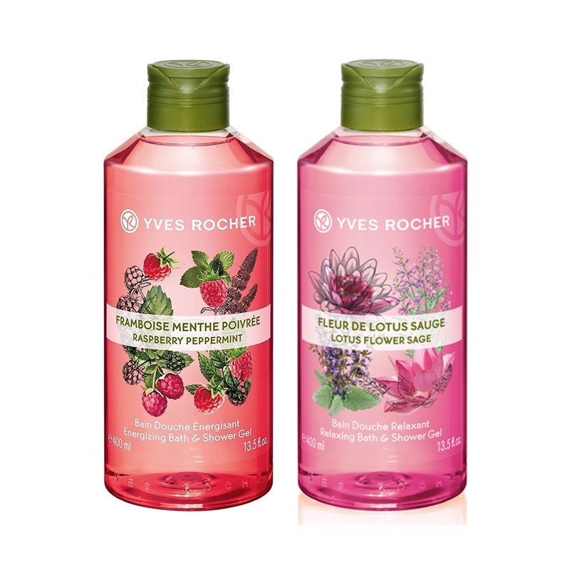 Combo Gel Tắm Yves Rocher Energizing Bath And Shower Gel Raspberry Peppermint Fl 400ml Bottle Và Relaxing Shower Gel Lotus Flower - Sage 400ml