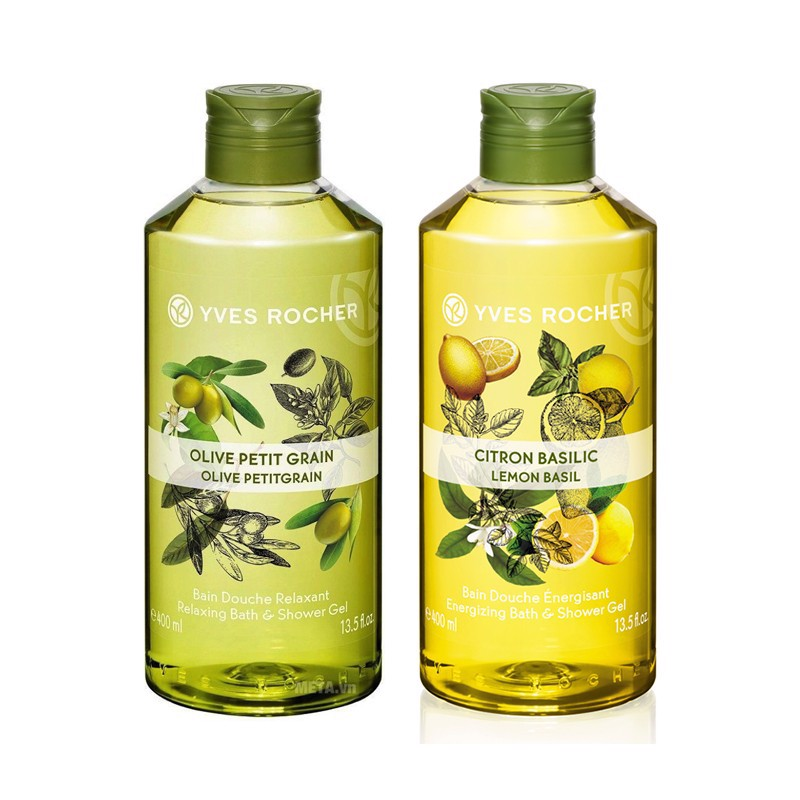 Combo Gel Tắm Yves Rocher Relaxing Bath And Shower Gel Olive Lemongrass 400ml Bottle Và Yves Rocher Energizing Bath And Shower Gel Lemon Basil 400ml
