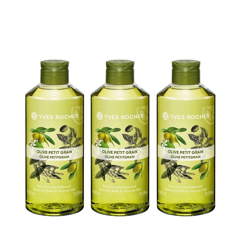Combo 3 Gel Tắm Yves Rocher Relaxing Bath And Shower Gel Olive Lemongrass 400ml Bottle